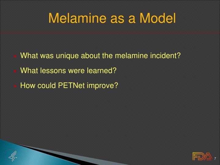 Melamine as a Model