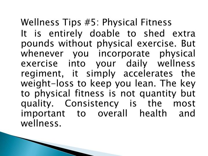 Wellness Tips #5: Physical Fitness