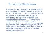 except for disclosures5