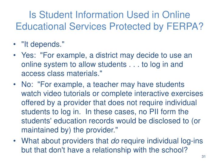 Is Student Information Used in Online Educational Services Protected by FERPA?