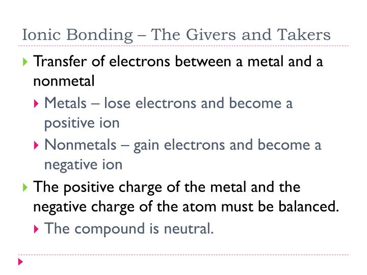 Ionic Bonding – The Givers and Takers