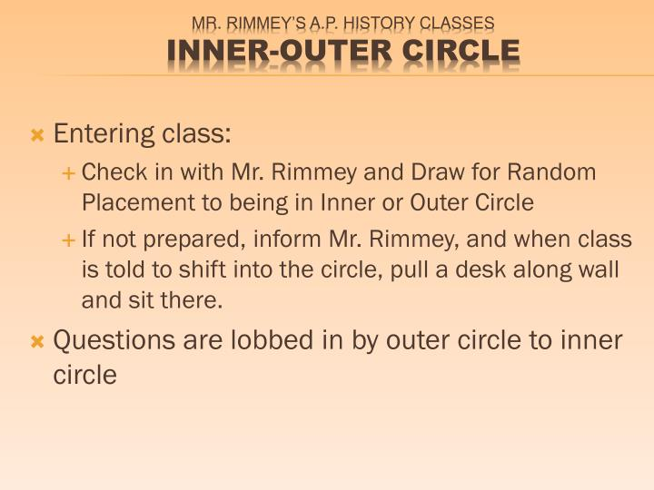 mr rimmey s a p history classes inner outer circle