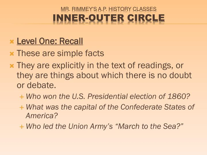 Level One: Recall