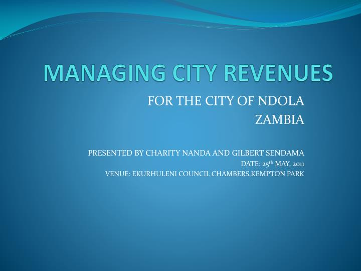 MANAGING CITY REVENUES