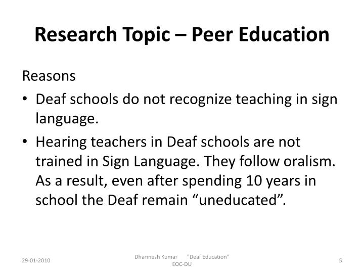 Research Topic – Peer Education