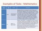 examples of tasks mathematics