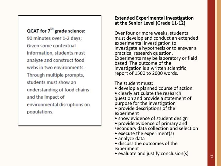 Extended Experimental Investigation at the Senior Level (Grade 11-12)