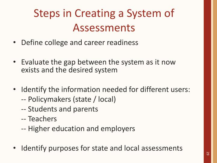 Steps in Creating a System of Assessments