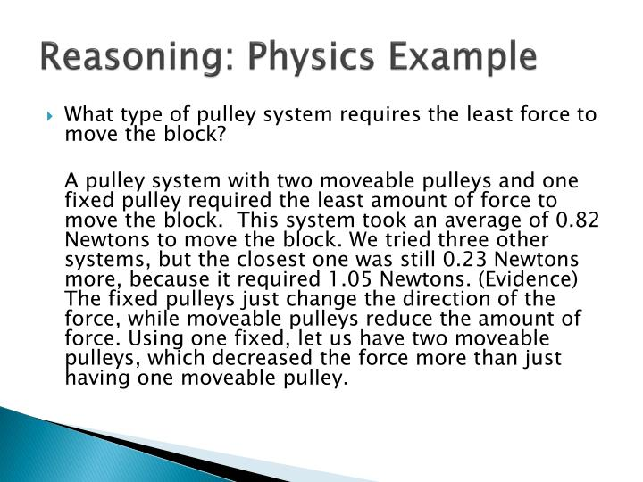 Reasoning: Physics Example