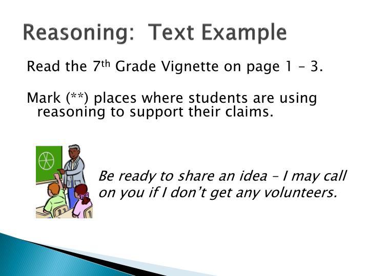Reasoning:  Text Example