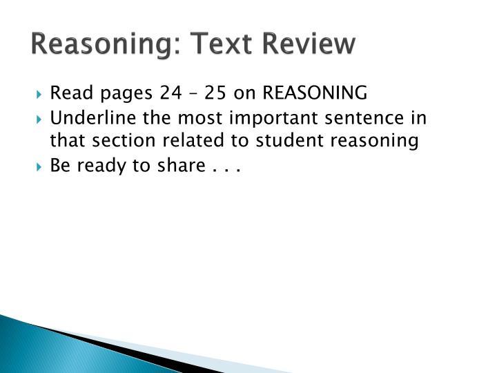 Reasoning: Text Review