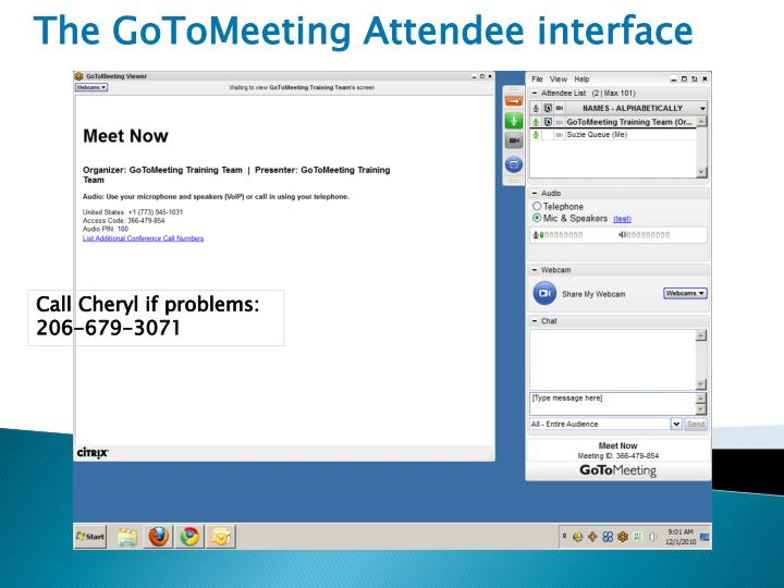 The GoToMeeting Attendee interface