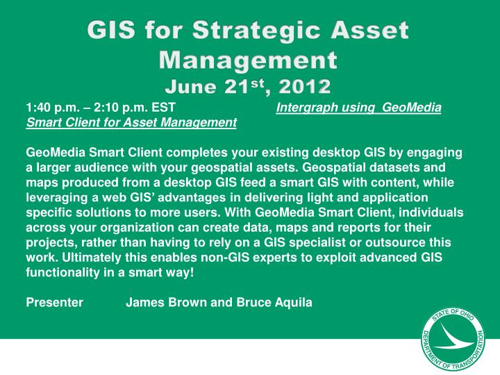 GIS for Strategic Asset Management