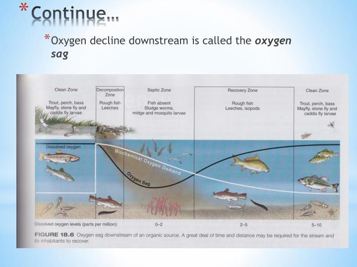 Oxygen decline downstream is called the