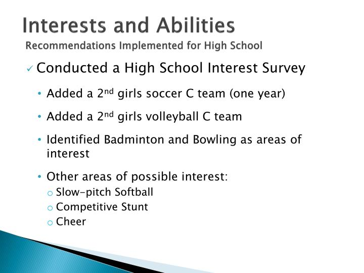 Interests and Abilities