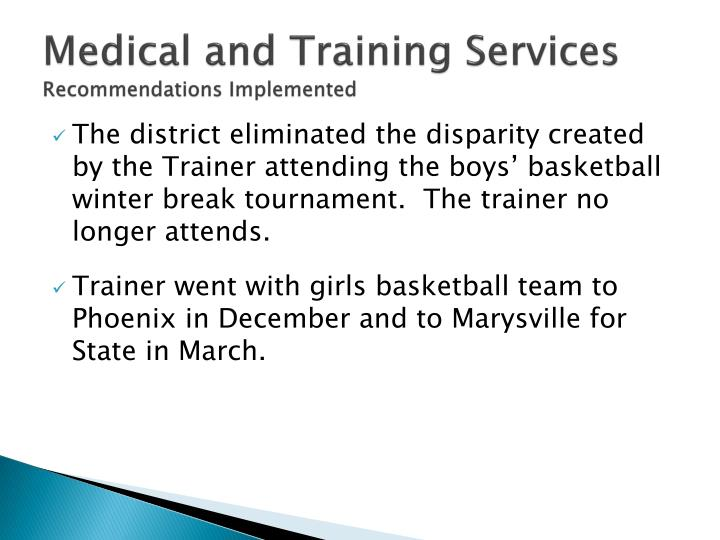 Medical and Training Services