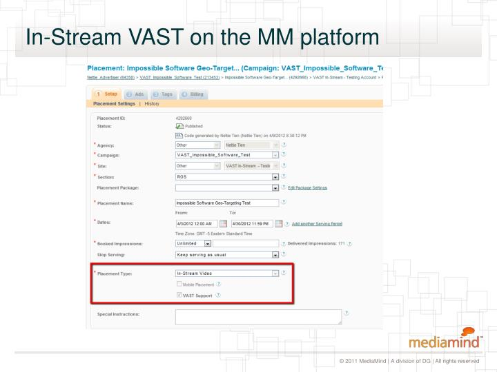 In-Stream VAST on the MM platform