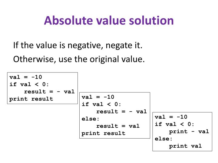 Absolute value solution