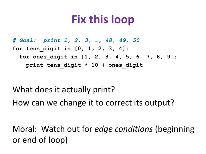 Fix this loop