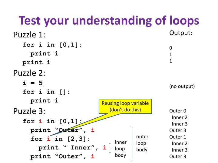 Test your understanding of loops