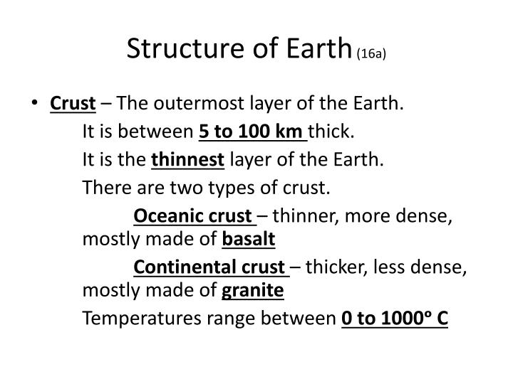 Structure of earth 16a1