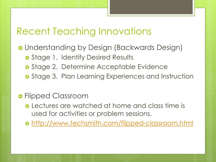 Recent teaching innovations