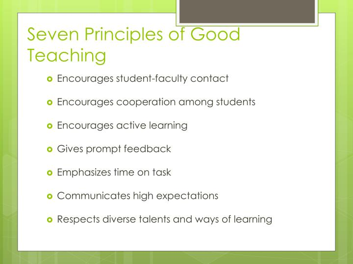 Seven Principles of Good Teaching