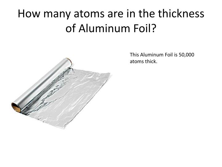 How many atoms are in the thickness of Aluminum Foil?