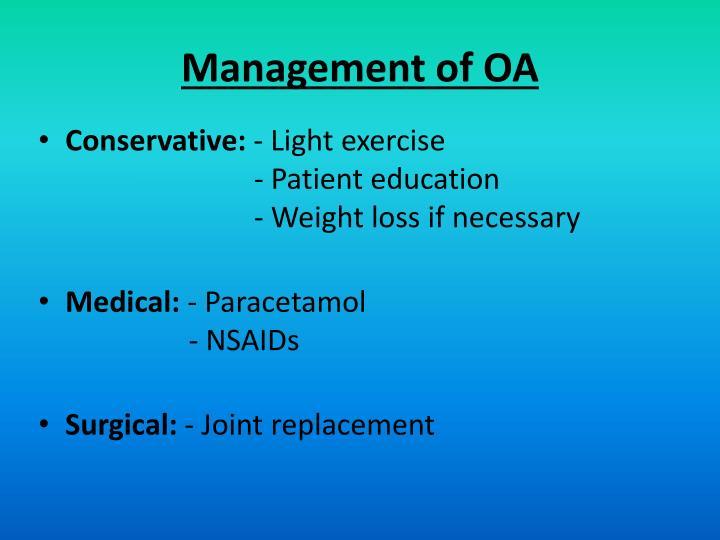 Management of OA