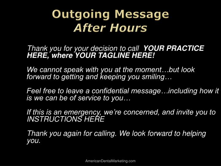 Outgoing Message