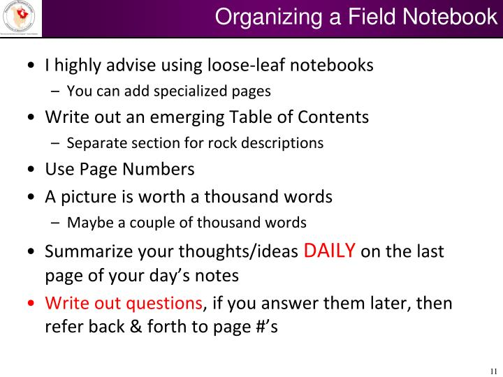 Organizing a Field Notebook