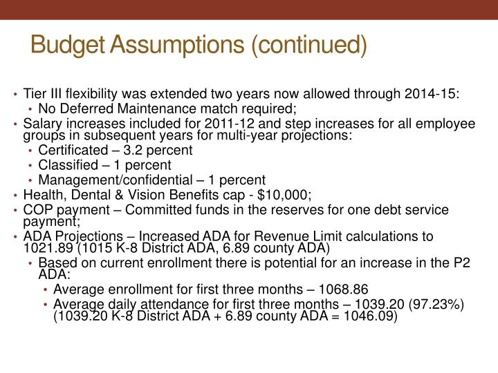 Budget Assumptions (continued)