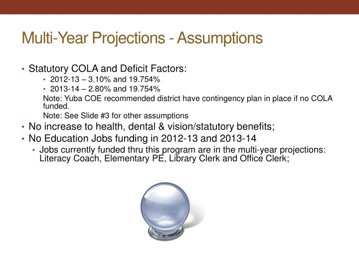 Multi-Year Projections - Assumptions