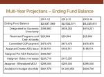 multi year projections ending fund balance