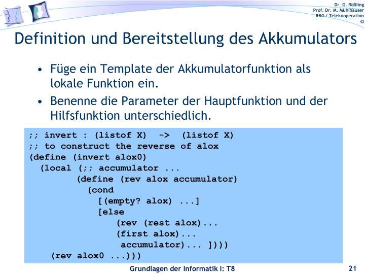 Definition und Bereitstellung des Akkumulators