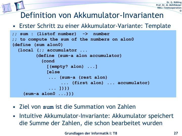 Definition von Akkumulator-Invarianten