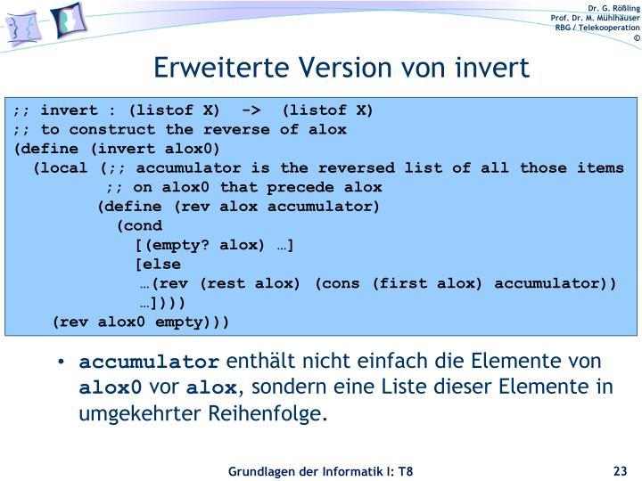 Erweiterte Version von invert