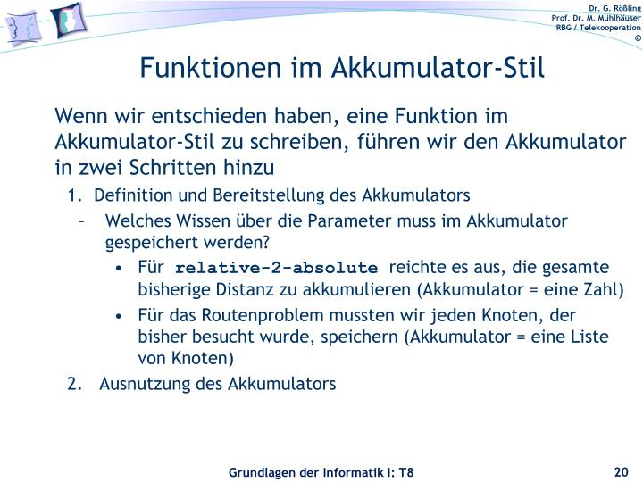 Funktionen im Akkumulator-Stil