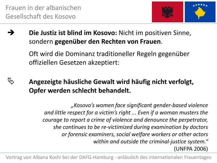 Die Justiz ist blind im Kosovo: