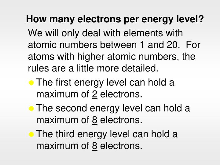 How many electrons per energy level?