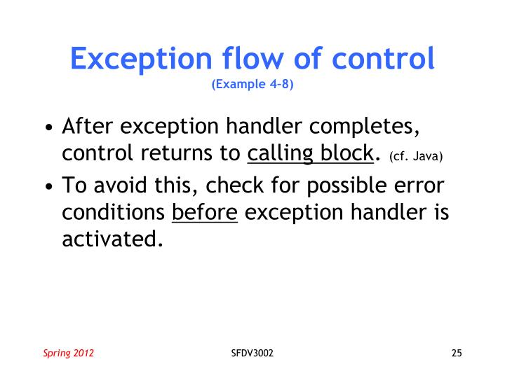 Exception flow of control