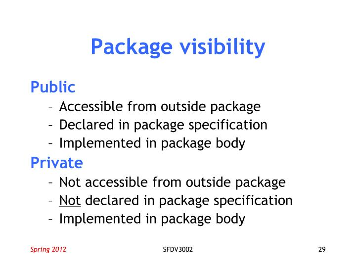 Package visibility