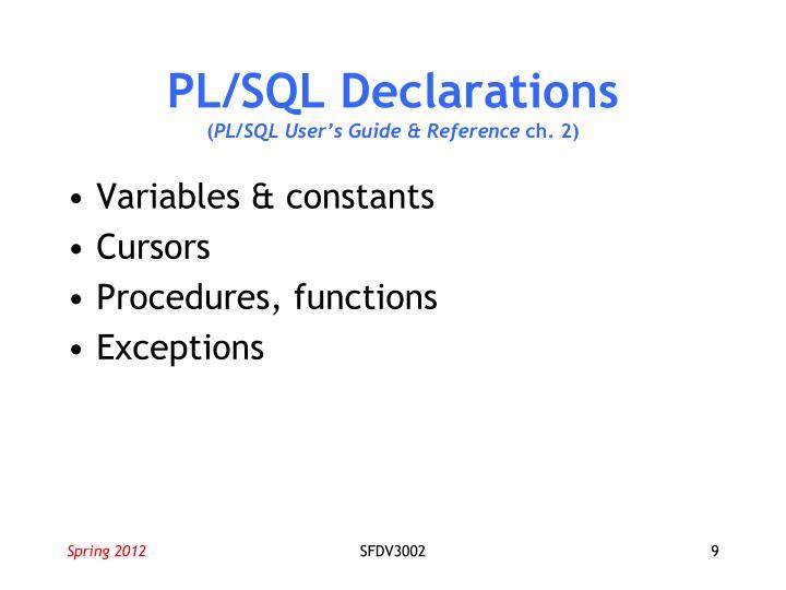 PL/SQL Declarations