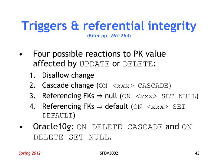 Triggers & referential integrity