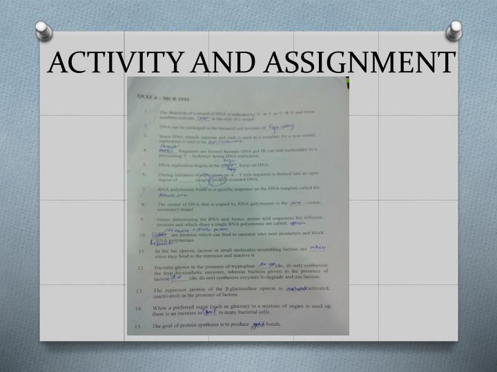 ACTIVITY AND ASSIGNMENT