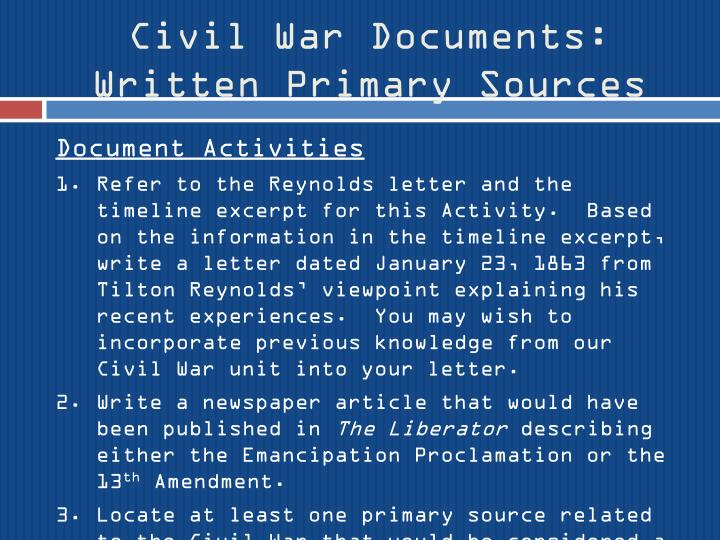 Civil War Documents: