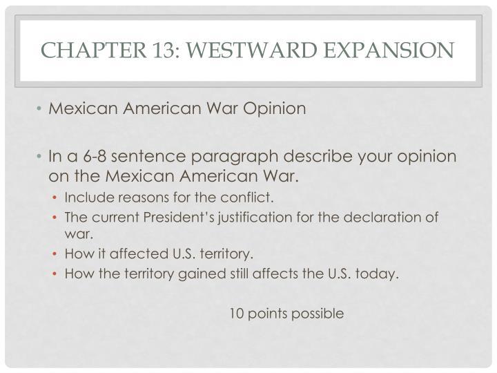 Chapter 13: Westward expansion