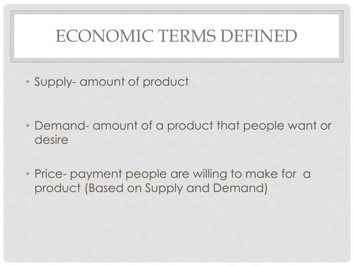 Economic Terms Defined