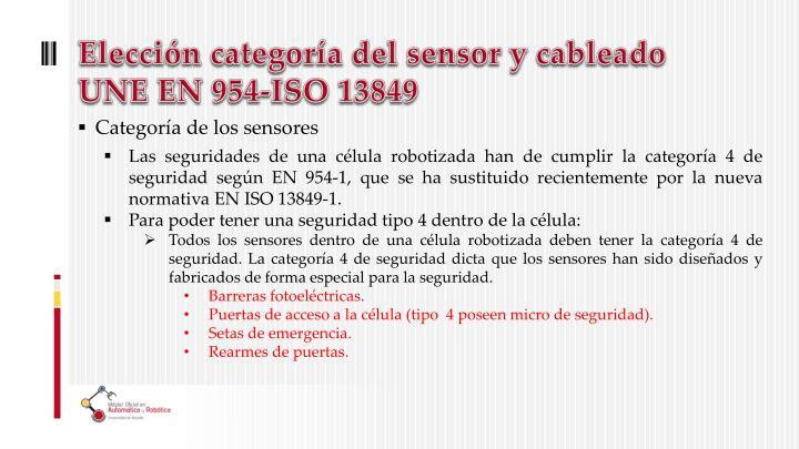 Elección categoría del sensor y cableado