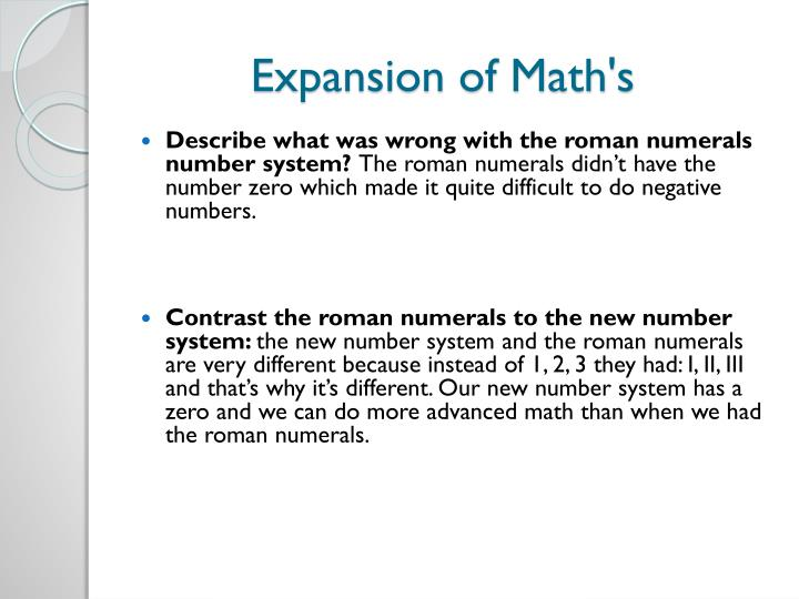 Expansion of Math's